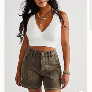 Free People We The Free CRVY Day Camp Army Shorts